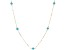 Turquoise Simulant 14k Yellow Gold Hollow Rolo Link Station Necklace 18 inch