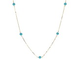 Turquoise Simulant 14k Yellow Gold Hollow Rolo Link Station Necklace 24 inch