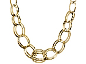 14k Yellow Gold Hollow Graduated Curb Link Necklace 18 inch