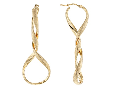 4291c32a5a409 14k Yellow Gold Twisted Tube Hoop Earrings