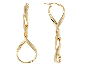 14k Yellow Gold Twisted Tube Hoop Earrings