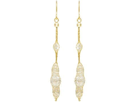 6.25ctw Cubic Zirconia 14k Yellow Gold Dangle Earrings