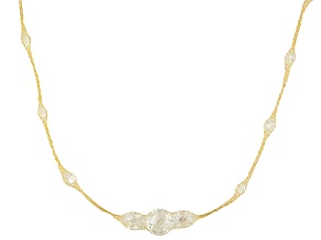 37.5ctw Cubic Zirconia 14k Yellow Gold Station 36 inch Necklace
