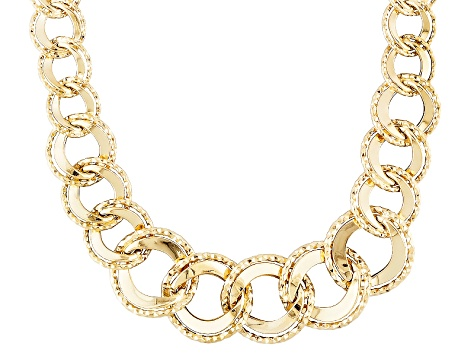 14k Yellow Gold Hollow Graduated Fancy Curb Link Necklace 20 inch
