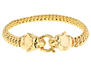 14k yellow gold artformed panther head bracelet 8 inch
