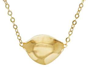 14k Yellow Gold Hollow Artformed Nugget Station Necklace 18 inch