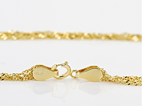 14k Yellow Gold Singapore Link Necklace 20 inch