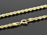 14k Yellow Gold Hollow Rope Link Chain Necklace 18 inch