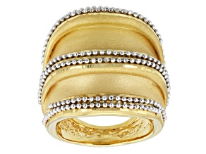 14k Yellow Gold With Rhodium Artformed Dome Ring