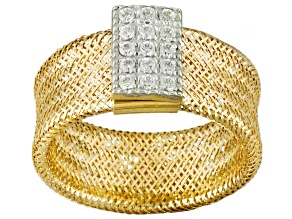 .9ctw Cubic Zirconia 14k Yellow Gold Mesh Link Stretch Ring