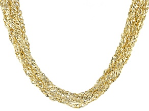 14k Yellow Gold Hollow Singapore Link Necklace 20 inch