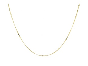 14k Yellow Gold Curb Link Station Necklace 20 inch