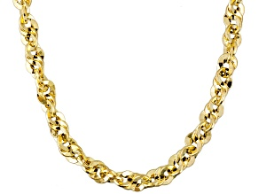 14k Yellow Gold Hollow Double Cable Link Necklace 18 inch