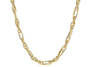 14k Yellow Gold Hollow Figaro Rope Link Necklace 20 inch 5mm
