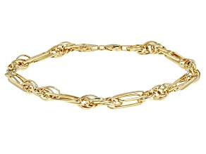 14k Yellow Gold Hollow Figaro Rope Link Bracelet 8 inch 5mm