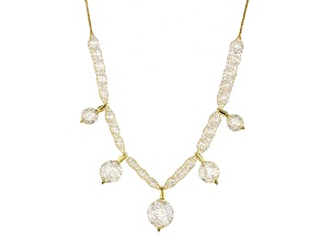 33.5ctw Cubic Zirconia 14k Yellow Gold Station Necklace 18 inch