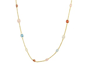 11.5ctw Cubic Zirconia 14k Yellow Gold Stations Necklace 30 inch