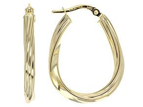 14k Yellow Gold Hollow Twisted Oval Hoop Earrings