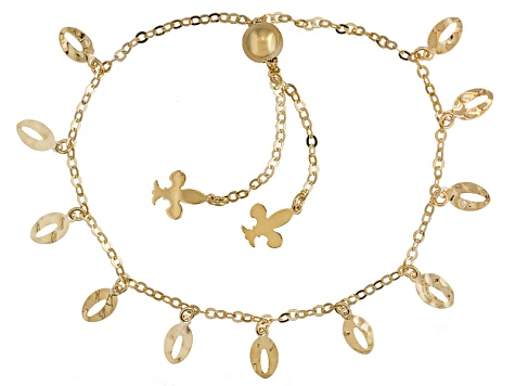 14k Yellow Gold Charm Sliding Adjustable Bracelet 9 inch