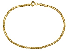 14k Yellow Gold Hollow Curb Link Bracelet. 7.5 inch