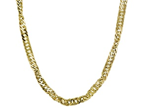 14k Yellow Gold Hollow Curb Link Necklace 24 inch
