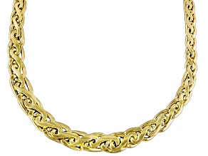 14k Yellow Gold Hollow Graduated Flat Wheat Link Necklace 20 inch
