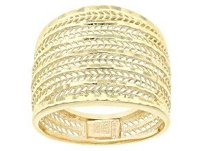 14k Yellow Gold Hollow Multi-Row Band Ring