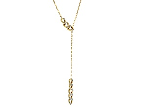 14k Yellow Gold With Rhodium Hollow Lariat Necklace 18 inch