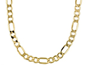 14k Yellow Gold Hollow Figaro Link Chain Necklace 20 inch 4mm
