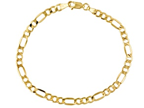 14k Yellow Gold Hollow Figaro Link Bracelet 7.5inch 4mm