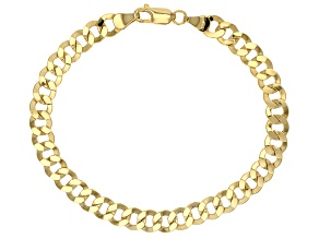 14k Yellow Gold Hollow Curb Link Bracelet 7.5 inch 6mm