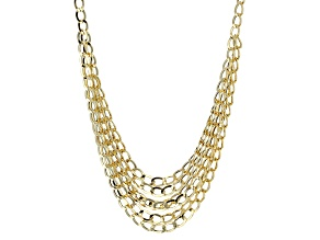 14k Yellow Gold Hollow Multistrand Curb Link Necklace 18 inch