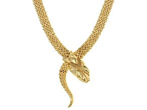 14k Yellow Gold Artformed Snake Necklace