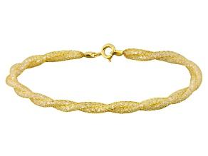 17.25ctw Cubic Zirconia 14k Yellow Gold Twisted Bracelet 7.5 inch