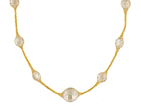 27ctw Cubic Zirconia 14k Yellow Gold Station Necklace 24 inch