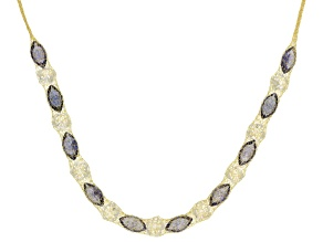 7.4ctw Cubic Zirconia 14k Yellow Gold Necklace 18 inch