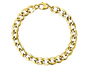 14k Yellow Gold Hollow Curb Link Bracelet 7 inch