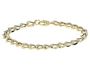 14k Yellow Gold Hollow Curb Link Bracelet 7.5 inch