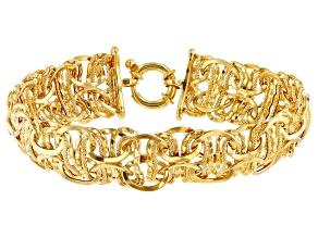 14k Yellow Gold Hollow Byzantine Link Bracelet 7 inch