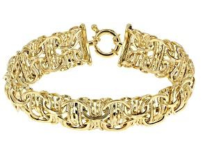 14k Yellow Gold Hollow Byzantine Link Bracelet 8 inch