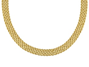 14k Yellow Gold Hollow Rope Link Necklace 18 inch