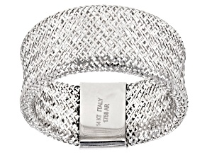 14k White Gold Mesh Link Band Ring