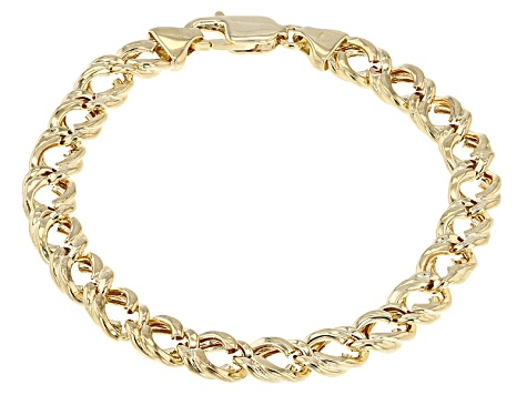14k Yellow Gold Hollow Curb Link Bracelet 8 Inch