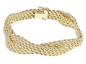 14k Yellow Gold Hollow Rope Link Bracelet 7.5 inch