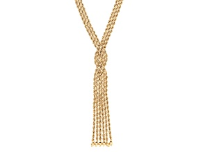 14k Yellow Gold Hollow Rope Link Tassel Necklace 18 inch