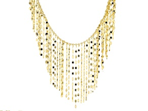 14k Yellow Gold Multi Strand Dangle Necklace 18 inch