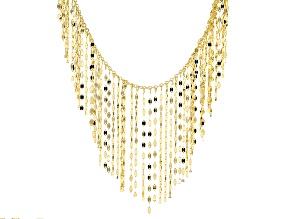 14k Yellow Gold Multi Strand Dangle Necklace 18 inch
