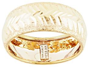 14k Yellow Gold Hollow Diamond Cut Band Ring