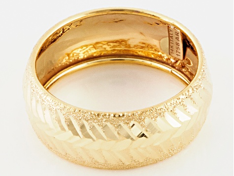 14k Yellow Gold Hollow Diamond Cut Band Ring