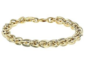 14k Yellow Gold Hollow Wheat Link Bracelet 8 inch